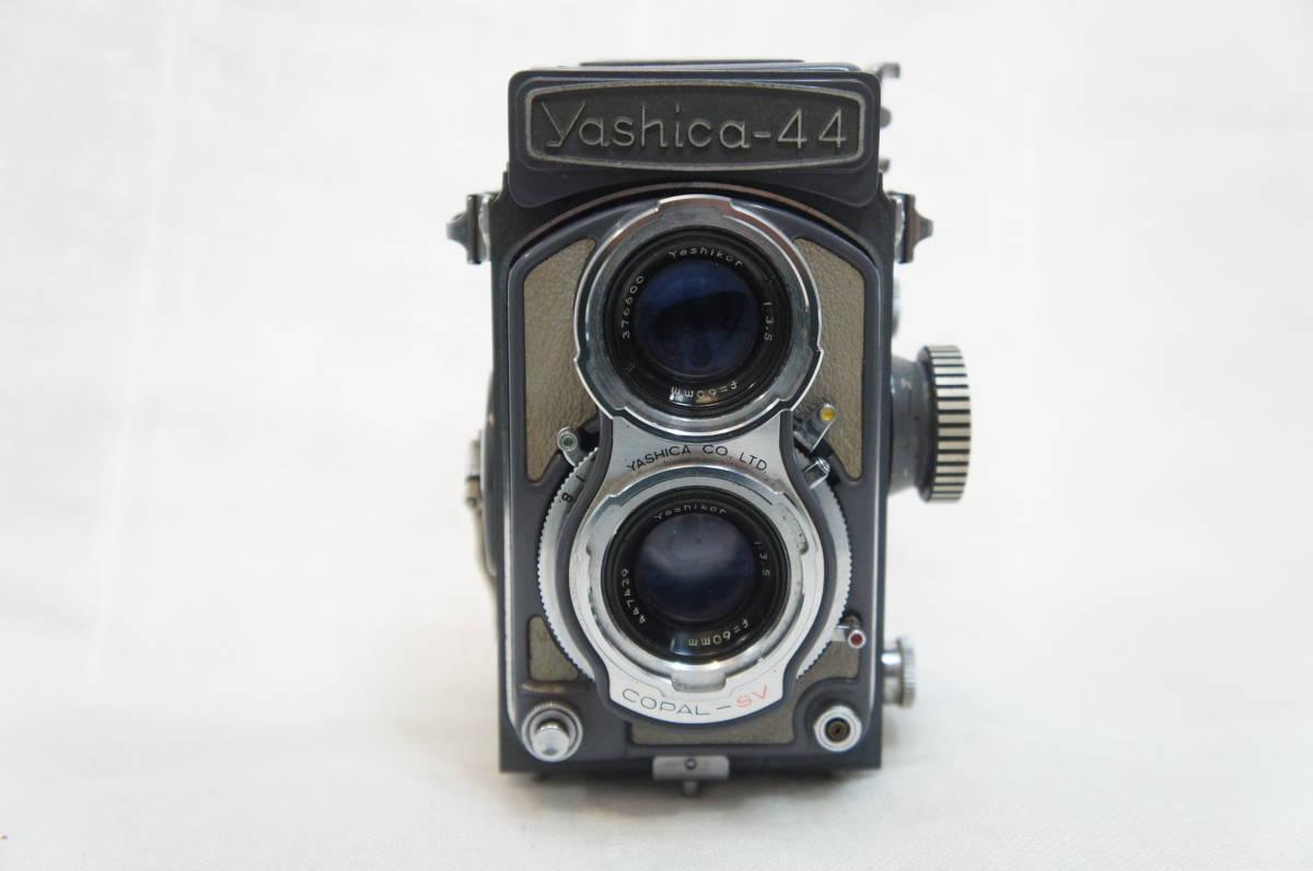 S44363F ジャンク品◎ヤシカ Yashica-44 二眼レフ◎レンズ 1:3.5 f=60mm◎レンズフィルター/レンズフード付き【中古品】_画像2