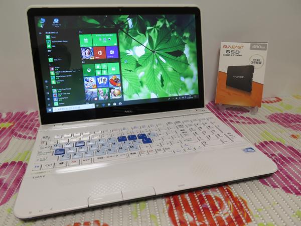 タッチ式【最新Windows10★爆速新SSD480GB】 NEC LS200/J ホワイト 高速CPU(Sandy Bridge) ★ メモリ4GB Wi-Fi HDMI Office2016
