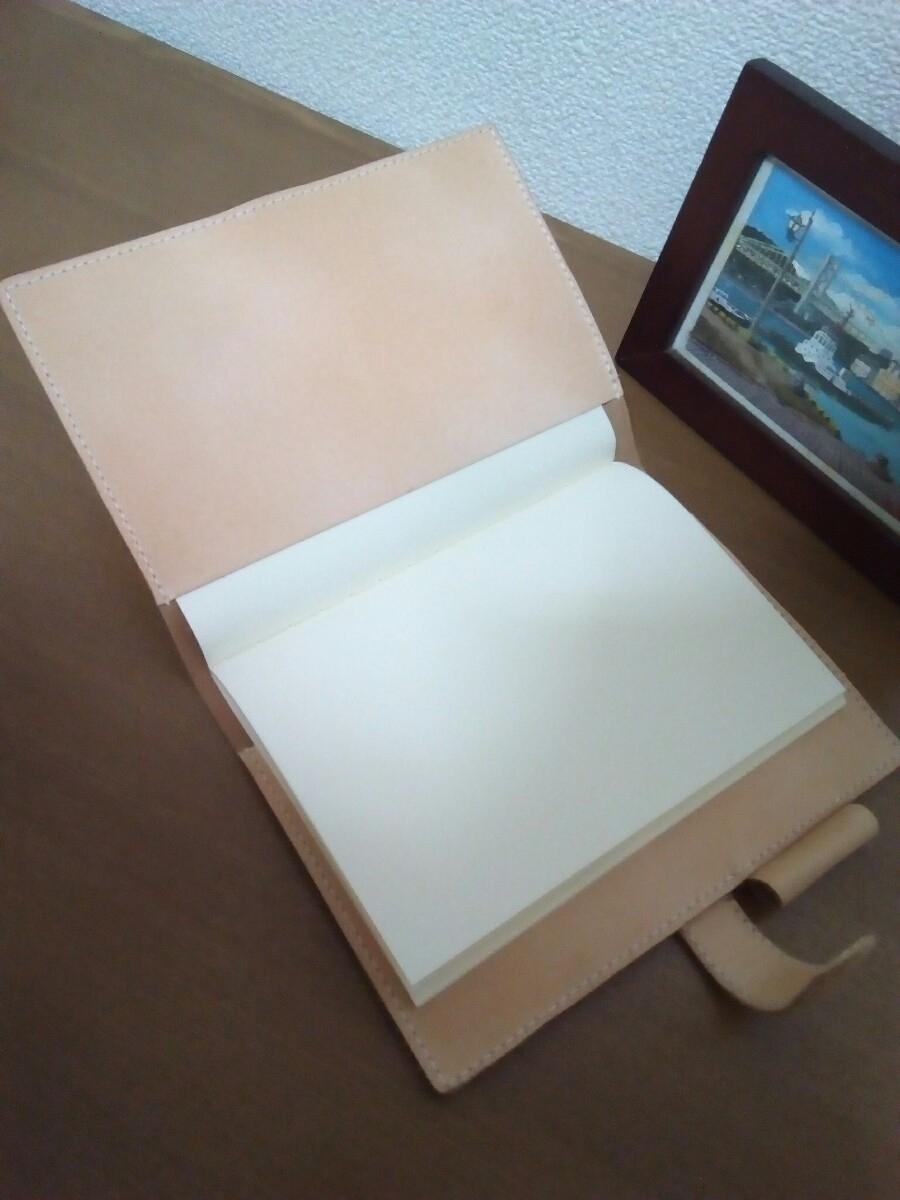 【ハンドメイド】ヌメ革の手帳カバー_画像4