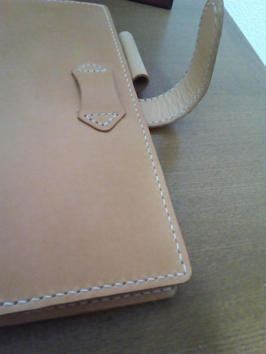 【ハンドメイド】ヌメ革の手帳カバー_画像3
