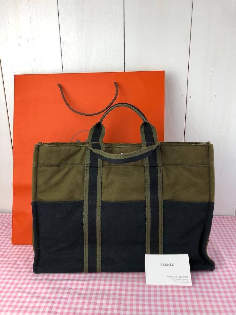 f22870d2bee5 送料無料☆ ♪ショップ袋付き♪ エルメス フールトゥMM HERMES カーキブラック USED ハンドバッグ