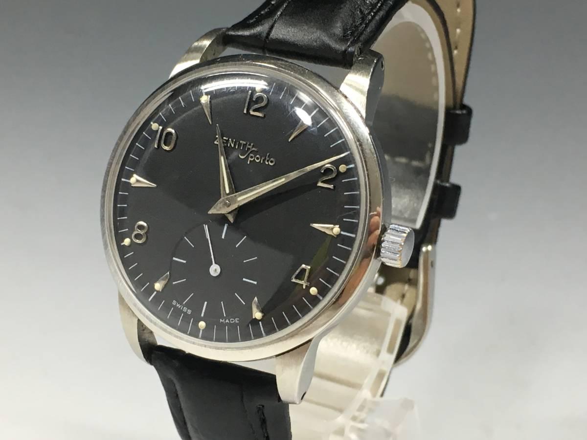 【1点限り】 ゼニス スポルト ブラック アンティーク ヴィンテージ ビンテージ 腕時計 手巻き リストウォッチ 美品