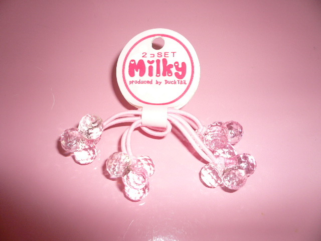 * pink decoration attaching hair elastic two piece ( Mill key )*