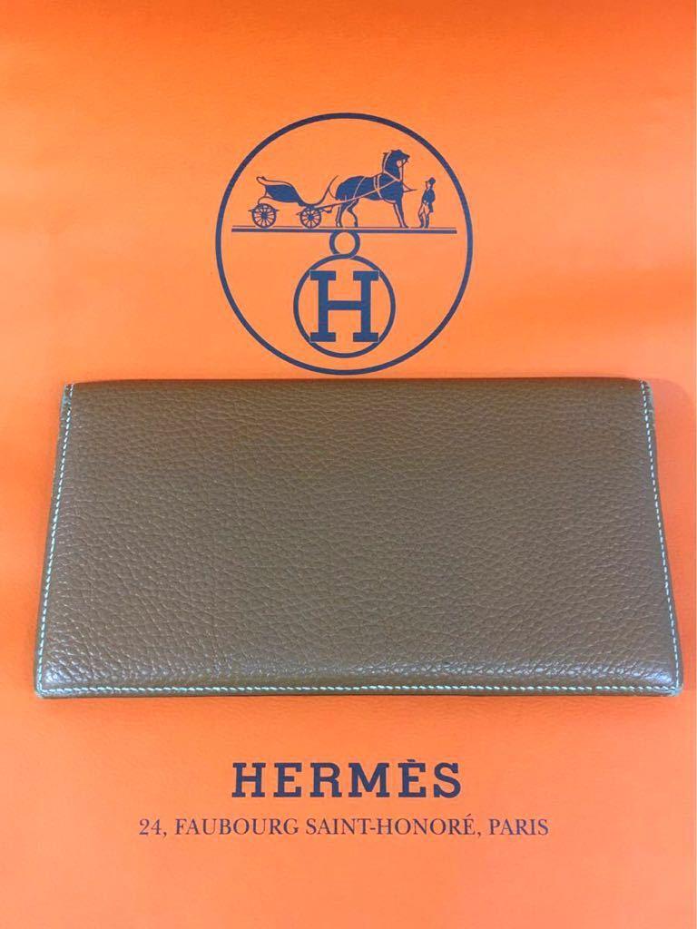 1円★エルメス HERMES 長財布 MC2 フレミング 札入 エプソン エトゥープ メンズ小物 ブラウン茶系 中古良品
