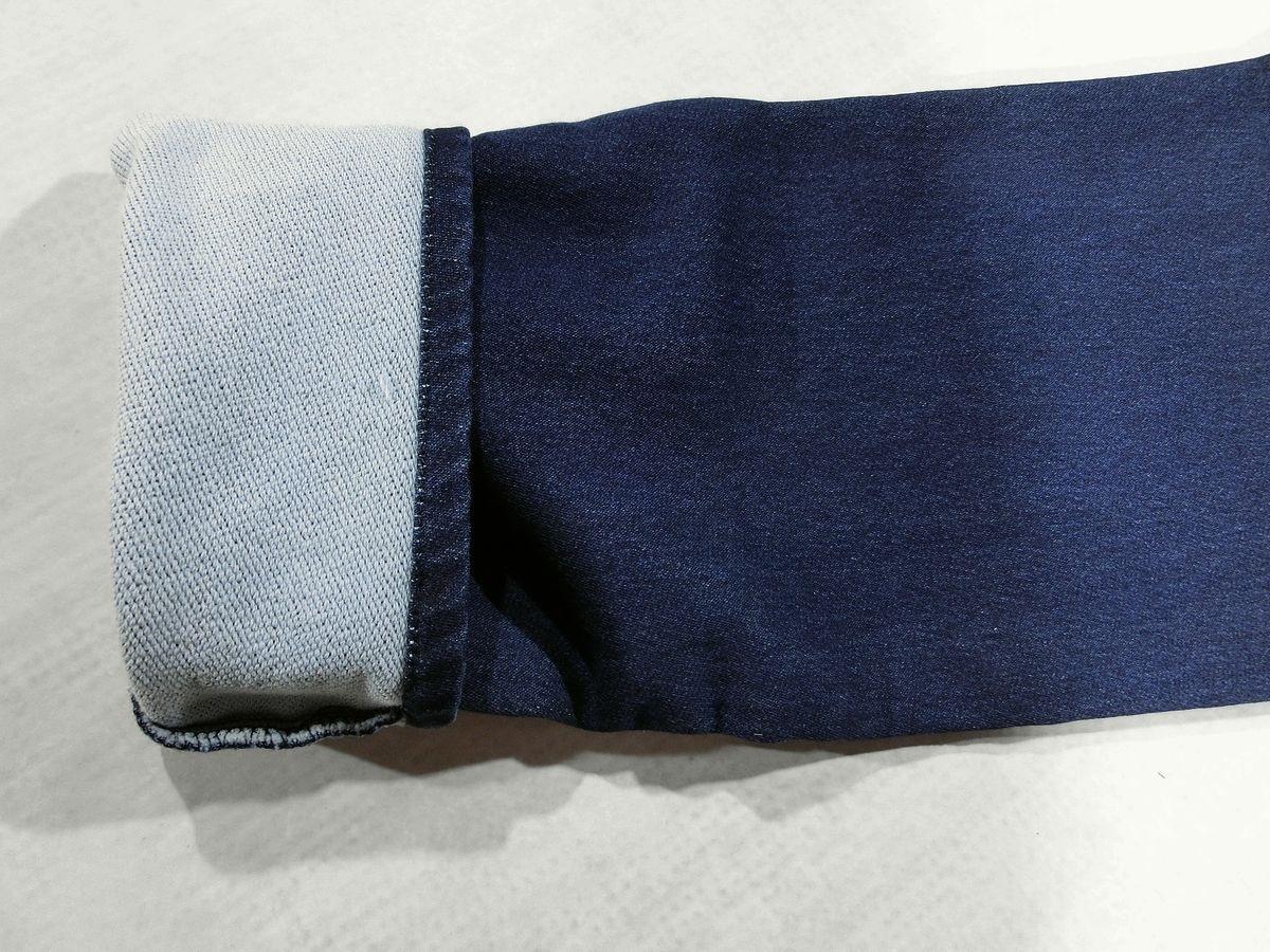 D426新品▼ ビームス デニム アンクルパンツ Lサイズ インディゴブルー クロップドパンツ イージーパンツ ウエスト裏花柄 BEAMS_画像4