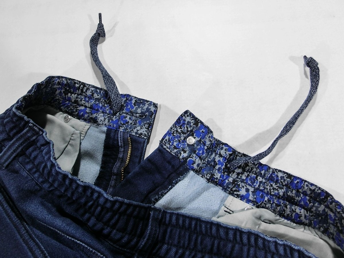 D426新品▼ ビームス デニム アンクルパンツ Lサイズ インディゴブルー クロップドパンツ イージーパンツ ウエスト裏花柄 BEAMS_画像5