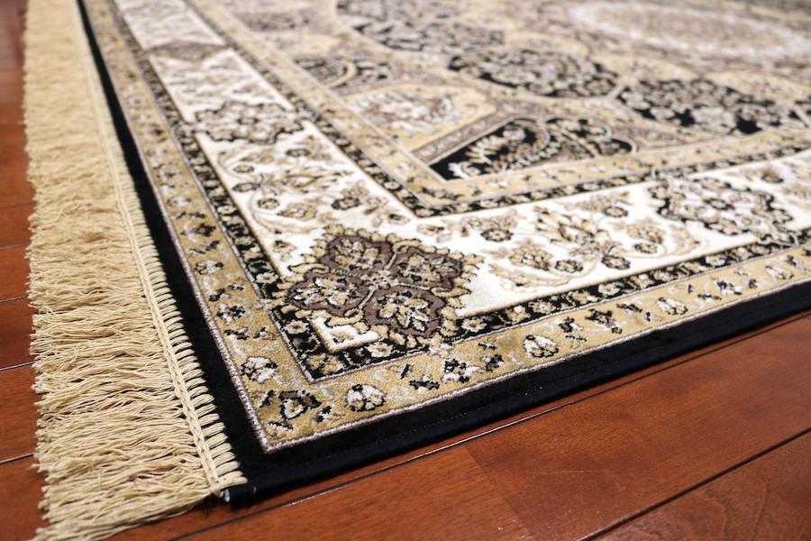 ペルシャ柄絨毯 160×230 新品未使用 カーペット 訳あり アウトレット ブラック