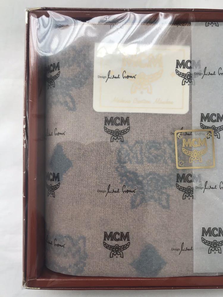 未使用 MCM ウォッシュタオル 2枚セット 総柄 ロゴ柄 茶 グレー 綿100%_画像2