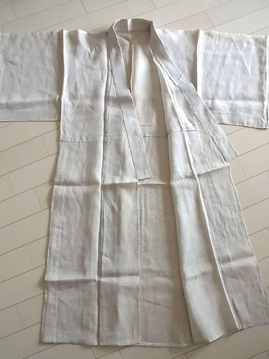■m5235■アンティーク■麻・上布■白 蚊絣 男物 単衣 着物■丈135.5 裄64 _画像6