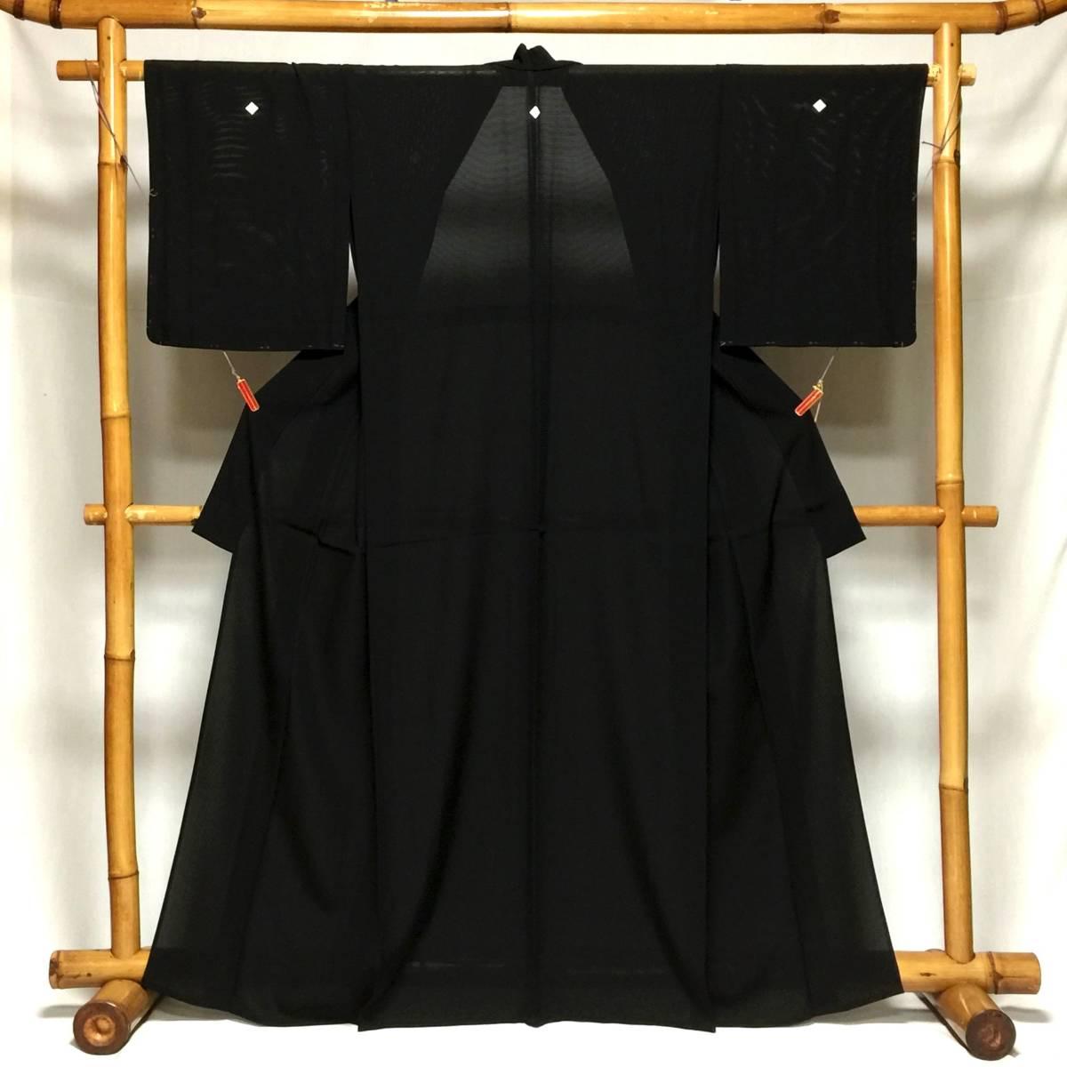 夏用 黒喪服 正絹 絽 Mサイズ 前巾広め 身丈161.5 裄65 未着用美品 家庭保存_画像1