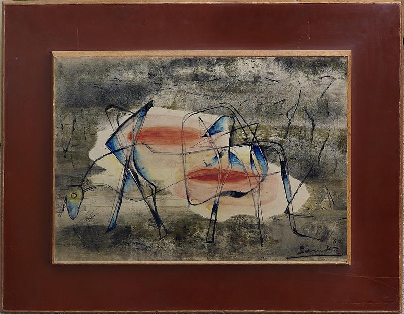 真作保証 井上三綱10号牛 トヨタ旧蔵作名典300万イサムノグチも認めた「伝統を濾過した抽象画」最高傑作ArtNetウィキペディア掲載