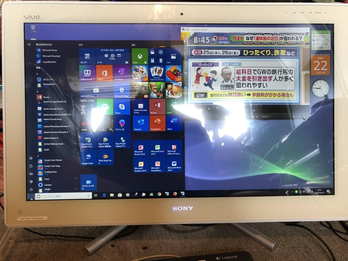 A98 Sony VAIO 非常に綺麗なVPCL225FJ KMBP付最強Windows10Home Sony認証済で3波チューナテレビ視聴 MS Office 2016Pro and 2010 and