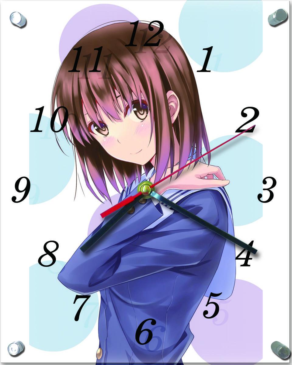 43新品●T904★冴えない彼女の育てかた★ ガラス製 置/掛 時計 20×25cm _画像1