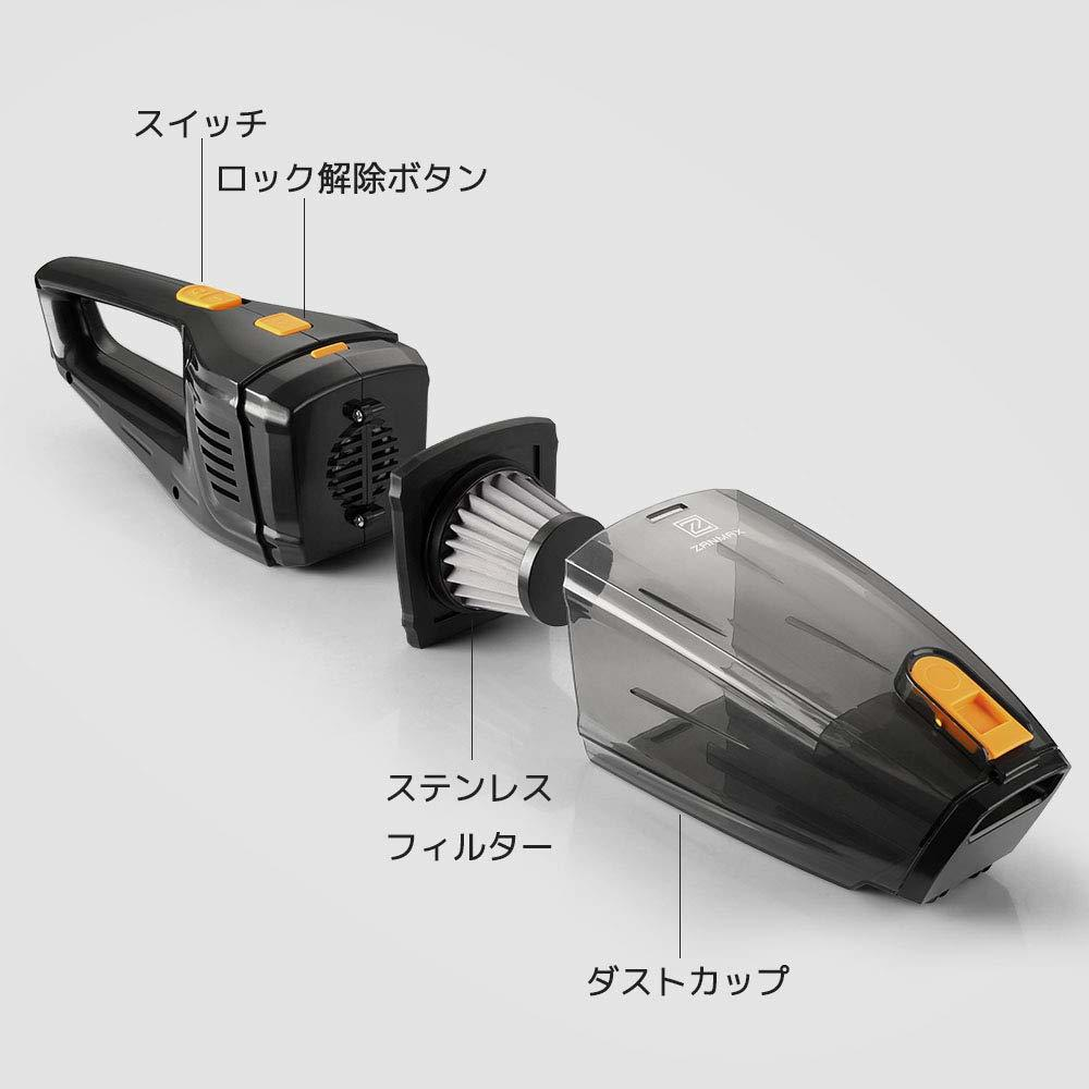 新品●Z ZANMAX ハンディクリーナー 掃除機 車 コードレ充電式 カークリーナー 6500PA超強吸引力 Q7024_画像2