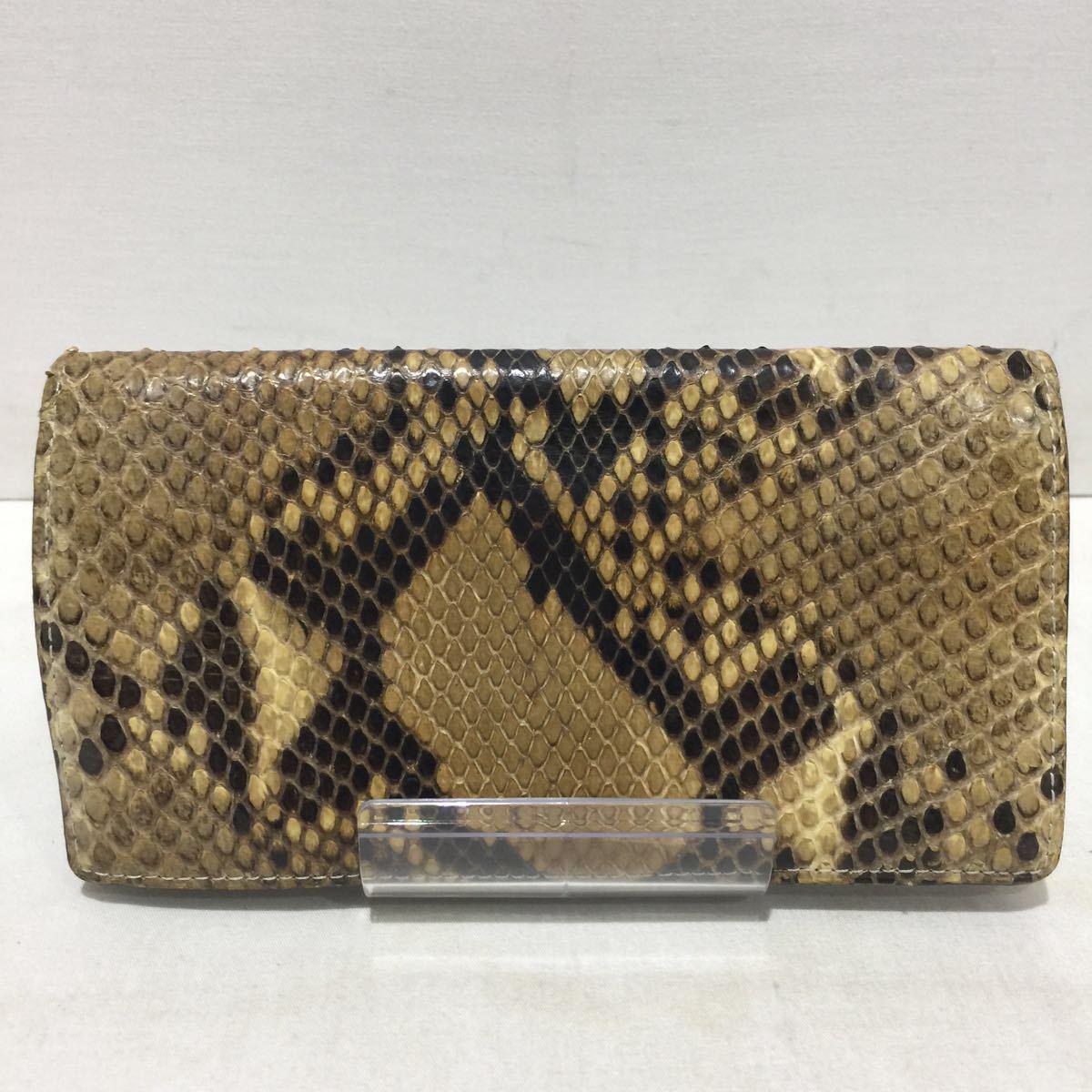 【Camille Fournet】二つ折り長財布 カミーユフォルネ パイソン レザー 革 柄 蛇柄_画像2