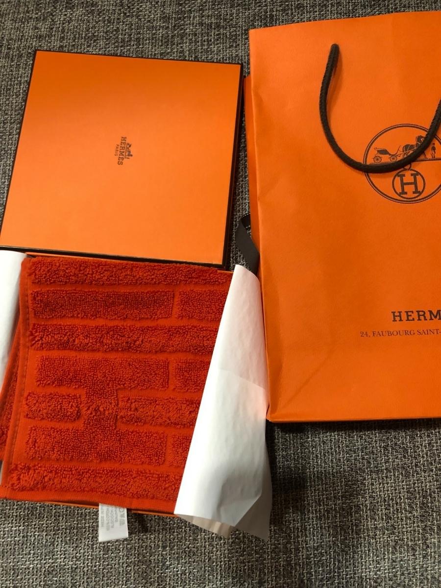 エルメス HERMES タオル ハンカチ ハンドタオル タオルハンカチ スカーフ ロゴ刺繍 chevron 新品