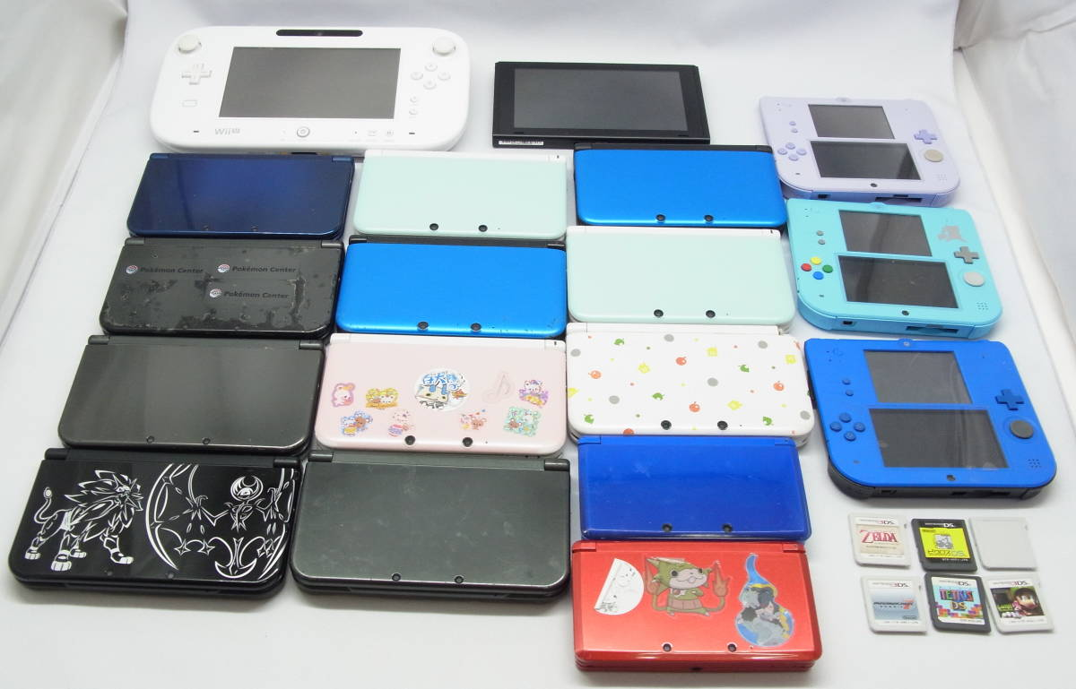 NINTENDO new3DSLL(5台), 3DSLL(6台), ,3DS(2台),2DS(3台),Will U 本体(1台 ),Nintendo Switch 本体(1台) 合計18台 ジャンク品