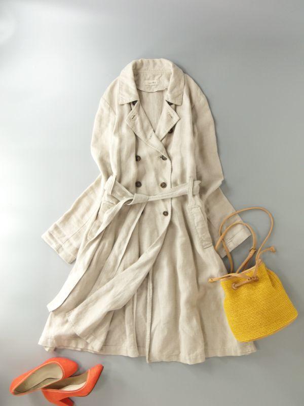 ネストローブ nest Robe 日本製 リネン100% ベルテッド トレンチコート♪ スプリングコート♪