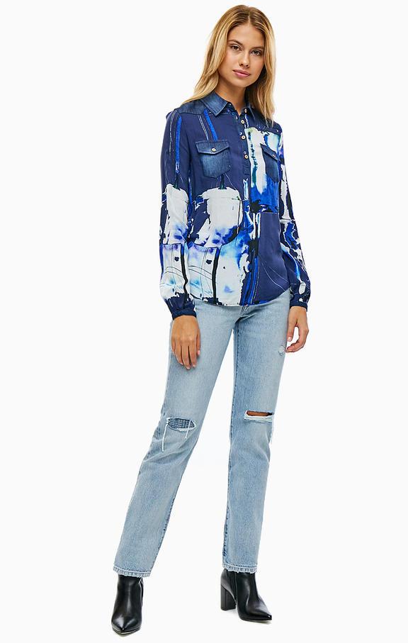 NEW * Desigual/デシグアル レディース 袖口・肩デニムデザインシャツ ロゴ刺繍 Sサイズ 送料370円 素敵 JXBNW_画像1