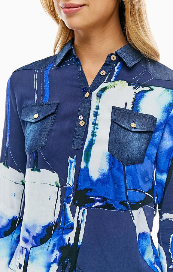 NEW * Desigual/デシグアル レディース 袖口・肩デニムデザインシャツ ロゴ刺繍 Sサイズ 送料370円 素敵 JXBNW_画像2