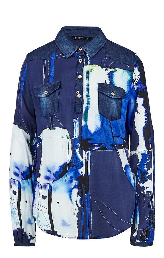 NEW * Desigual/デシグアル レディース 袖口・肩デニムデザインシャツ ロゴ刺繍 Sサイズ 送料370円 素敵 JXBNW_画像5