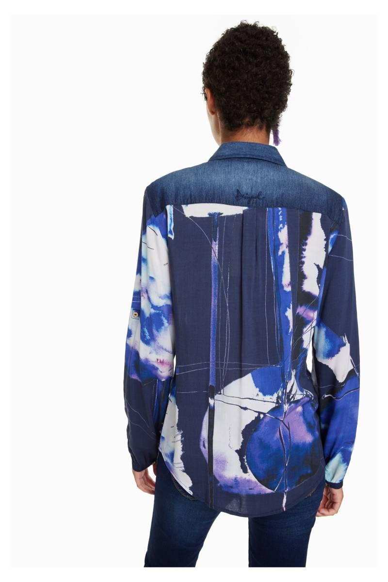 NEW * Desigual/デシグアル レディース 袖口・肩デニムデザインシャツ ロゴ刺繍 Sサイズ 送料370円 素敵 JXBNW_画像3