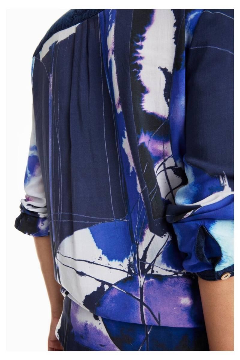 NEW * Desigual/デシグアル レディース 袖口・肩デニムデザインシャツ ロゴ刺繍 Sサイズ 送料370円 素敵 JXBNW_画像4