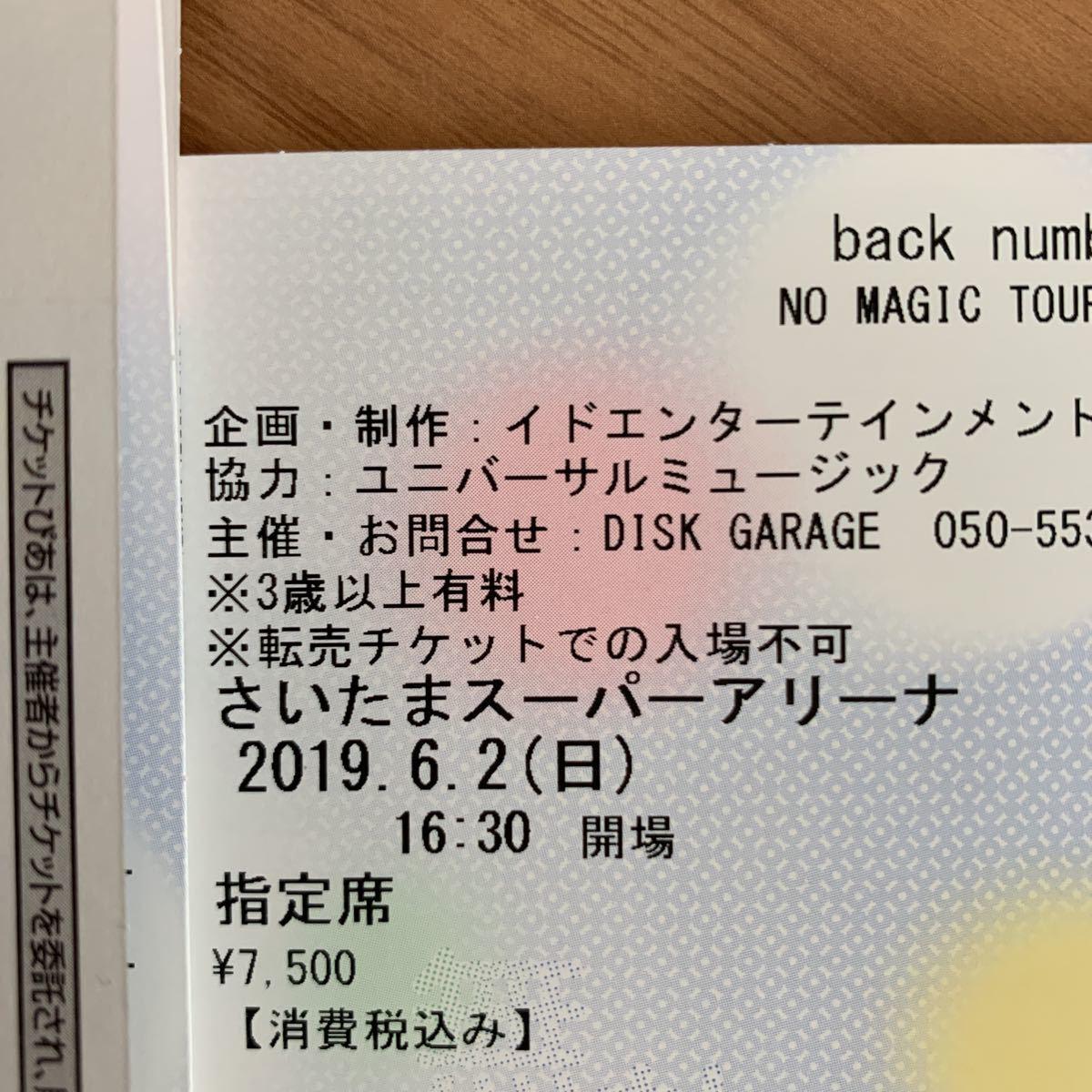 back number ☆ 6/2 さいたまスーパーアリーナ ☆ チケット