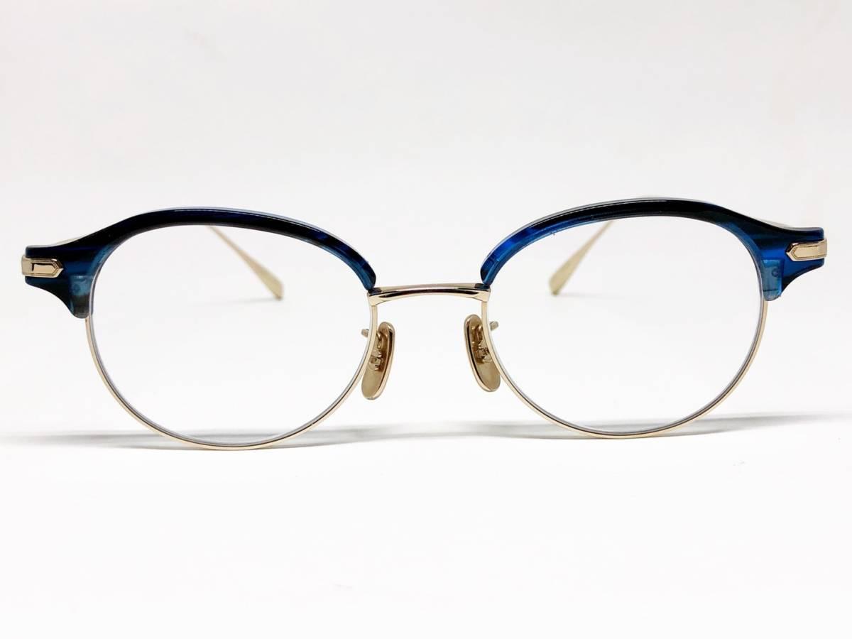 希少 《 美しいシルエット / 日本製 》 極上品 【 BJ CLASSIC S-741 NT ブルー サーモント ブロー セルロイド チタン 眼鏡 】