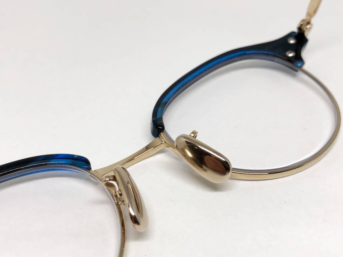 希少 《 美しいシルエット / 日本製 》 極上品 【 BJ CLASSIC S-741 NT ブルー サーモント ブロー セルロイド チタン 眼鏡 】_画像3