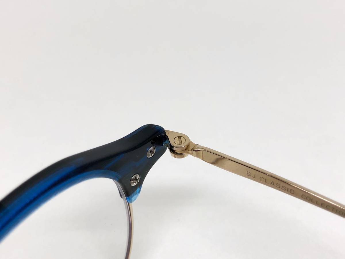 希少 《 美しいシルエット / 日本製 》 極上品 【 BJ CLASSIC S-741 NT ブルー サーモント ブロー セルロイド チタン 眼鏡 】_画像4