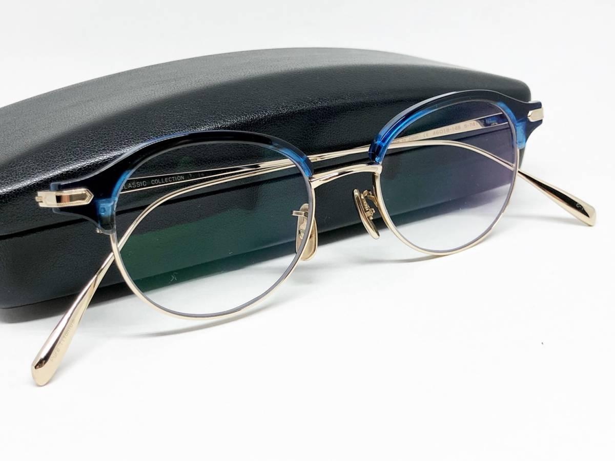希少 《 美しいシルエット / 日本製 》 極上品 【 BJ CLASSIC S-741 NT ブルー サーモント ブロー セルロイド チタン 眼鏡 】_画像9