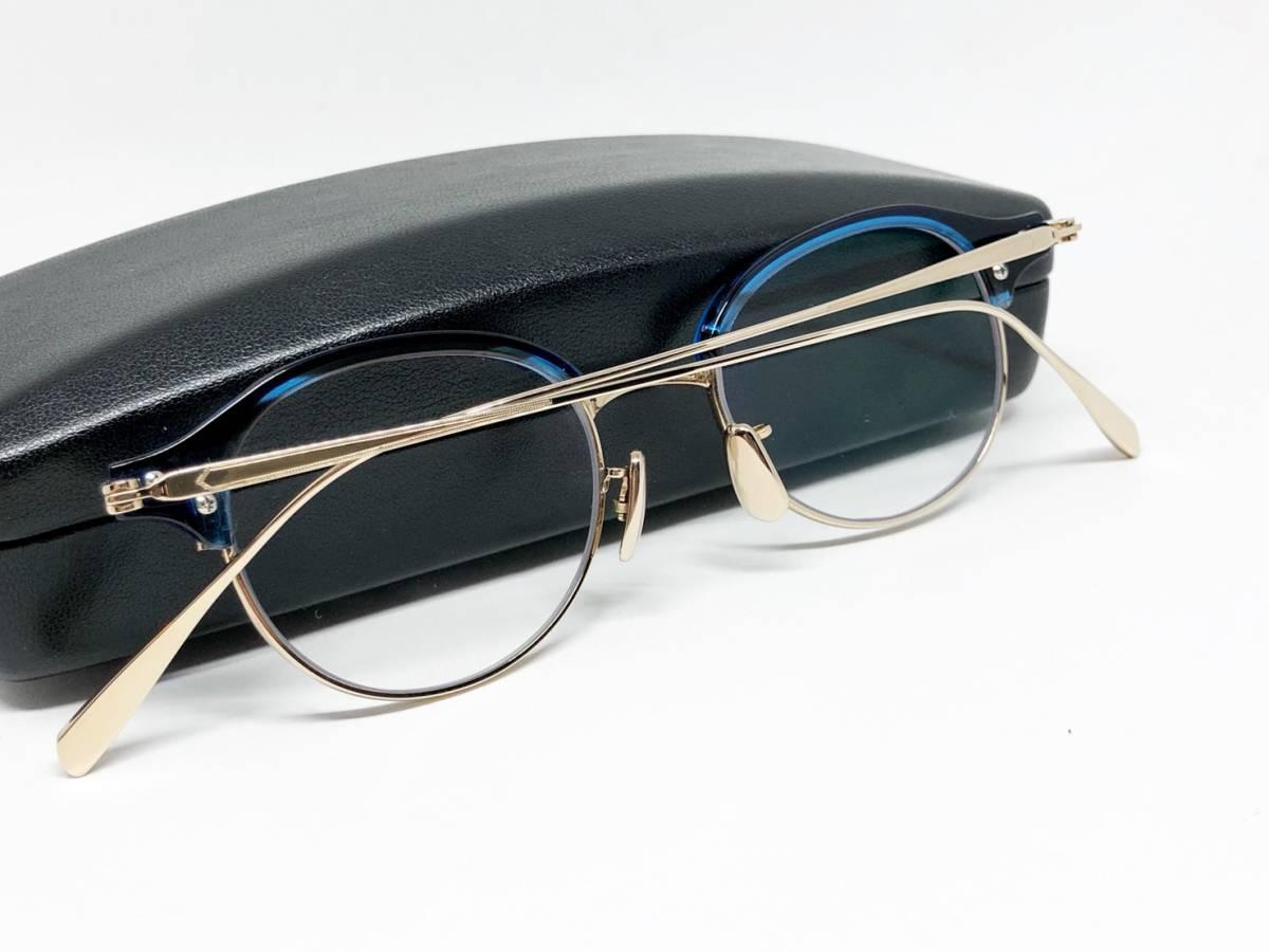 希少 《 美しいシルエット / 日本製 》 極上品 【 BJ CLASSIC S-741 NT ブルー サーモント ブロー セルロイド チタン 眼鏡 】_画像10