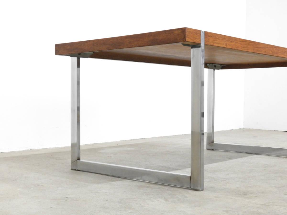北欧モダン ローズウッド×スチール センターテーブル 70年代ヴィンテージ/デンマーク _画像4