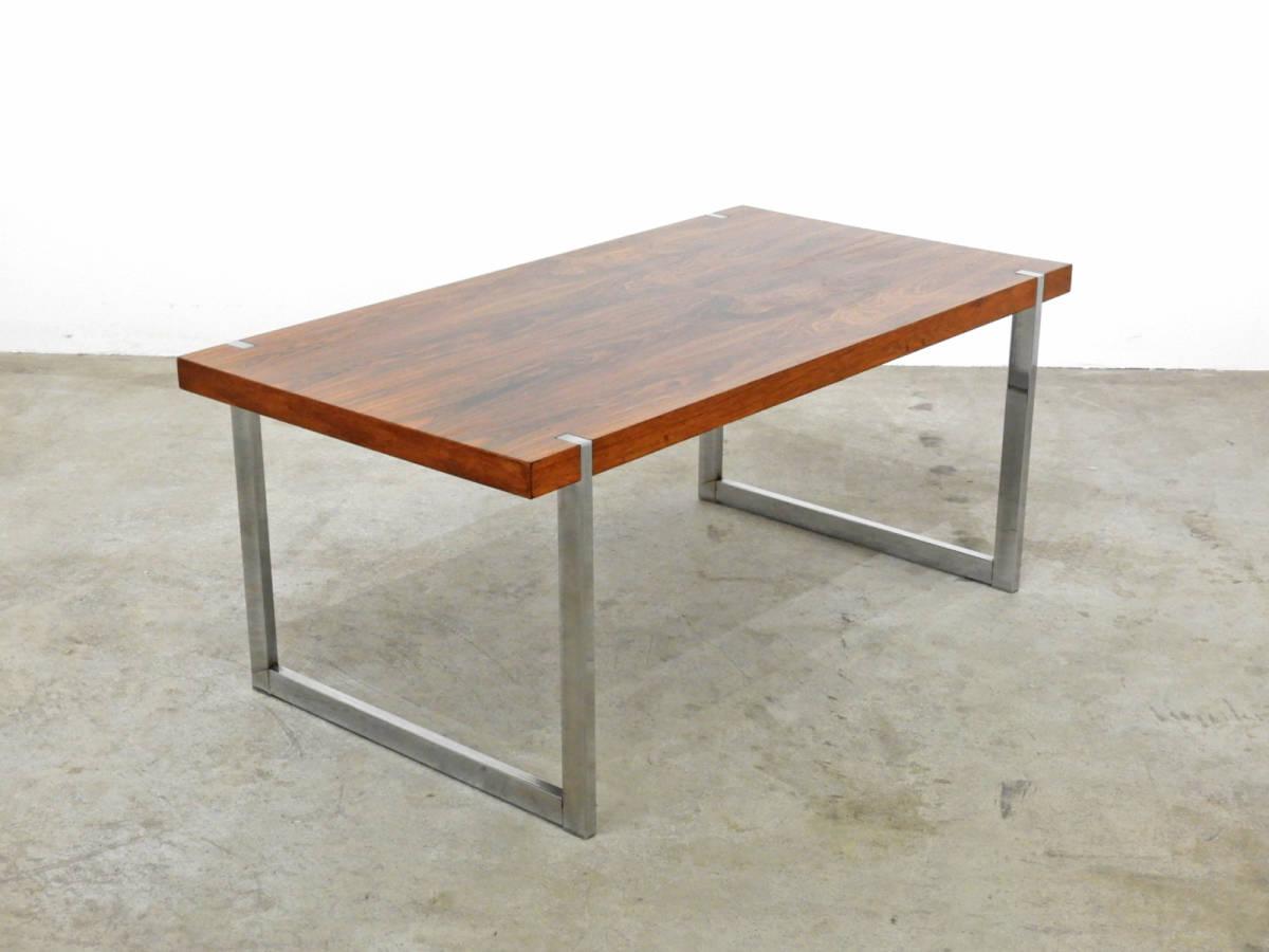 北欧モダン ローズウッド×スチール センターテーブル 70年代ヴィンテージ/デンマーク