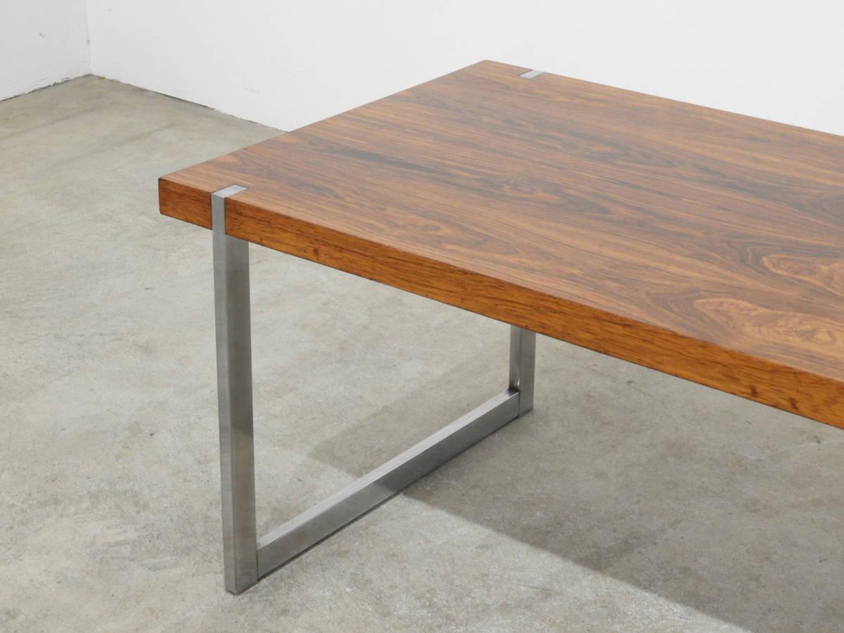 北欧モダン ローズウッド×スチール センターテーブル 70年代ヴィンテージ/デンマーク _画像3
