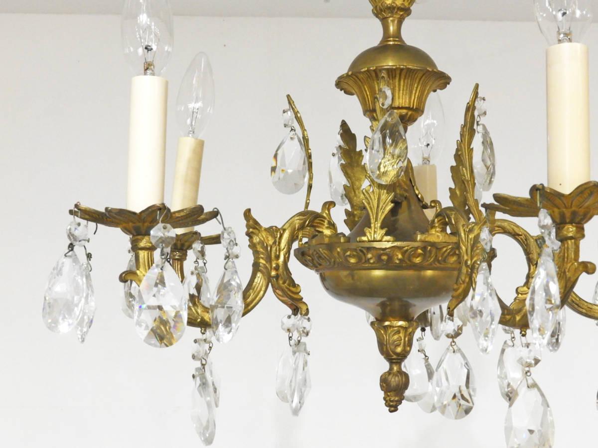 フランス製 真鍮×クリスタルガラス シャンデリア 5灯/オルネドフォイユ アスティエ フレンチ ヴィンテージ イタリア _画像1