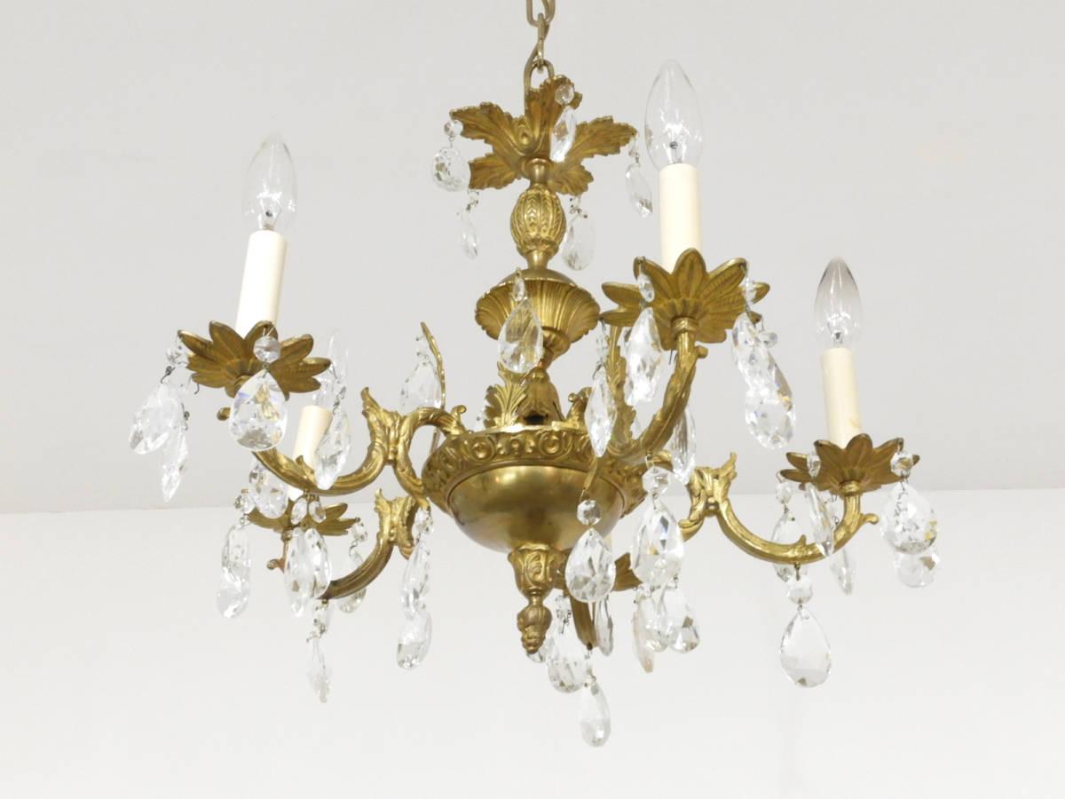 フランス製 真鍮×クリスタルガラス シャンデリア 5灯/オルネドフォイユ アスティエ フレンチ ヴィンテージ イタリア _画像3