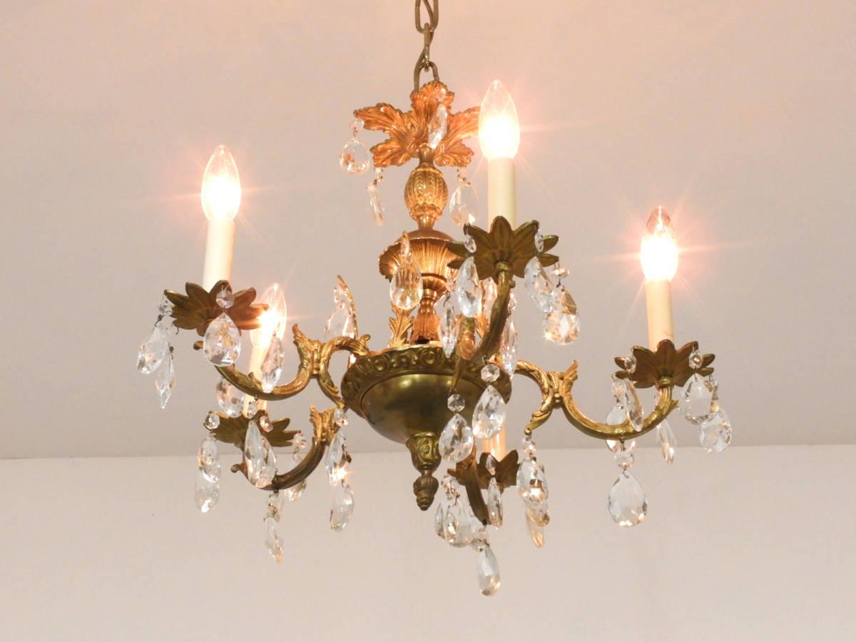 フランス製 真鍮×クリスタルガラス シャンデリア 5灯/オルネドフォイユ アスティエ フレンチ ヴィンテージ イタリア _画像2
