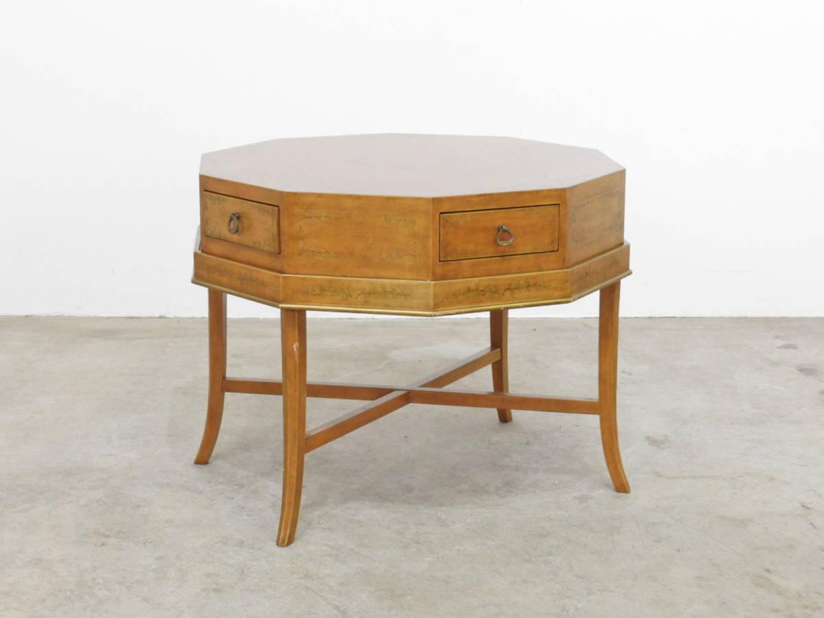 イタリア製 金彩装飾 10角形クラシックゲームテーブル/アンティーク ローテーブルドレクセル イギリス
