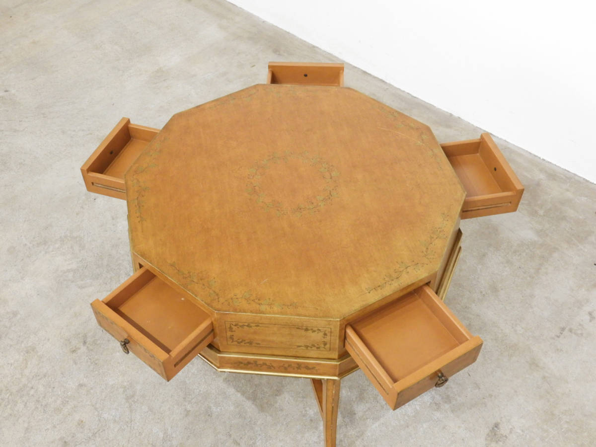 イタリア製 金彩装飾 10角形クラシックゲームテーブル/アンティーク ローテーブルドレクセル イギリス_画像2