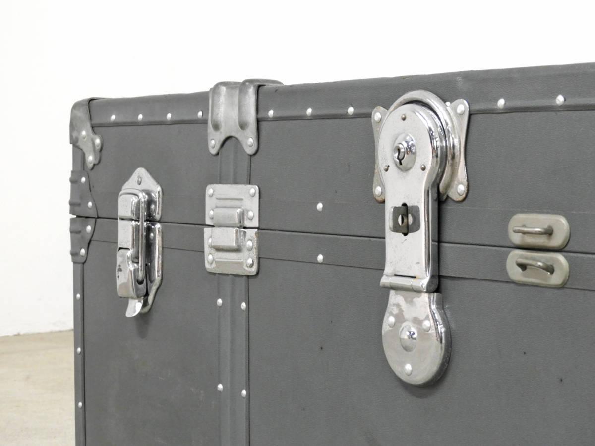 ヴィンテージ 船舶用スチーマートランク 鍵付き/アメリカ 古道具 店舗什器 収納 昭和レトロ アクメ_画像3