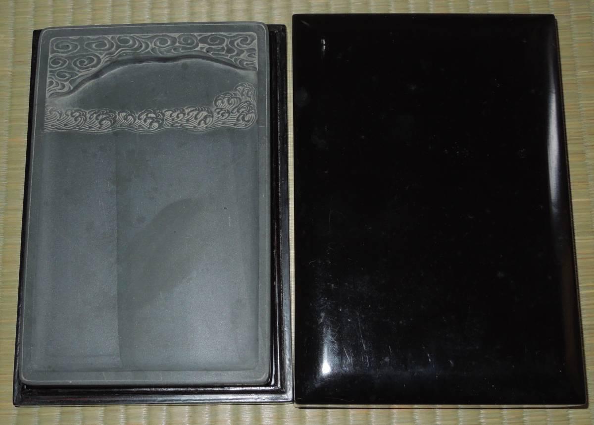 書道具  硯 古硯 歙州 金星・金暈 線綺麗 約18.9cm×12.3cm×2.8cm_画像1