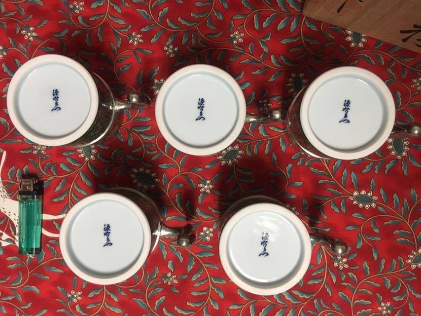 【未使用】源右衛門 黄緑彩兜唐草 麦酒杯 5個組 共箱 有田焼 陶器 ビール ジョッキ グラス 和食器 (他 柿右衛門 萬右衛門 等出品してます)_画像4