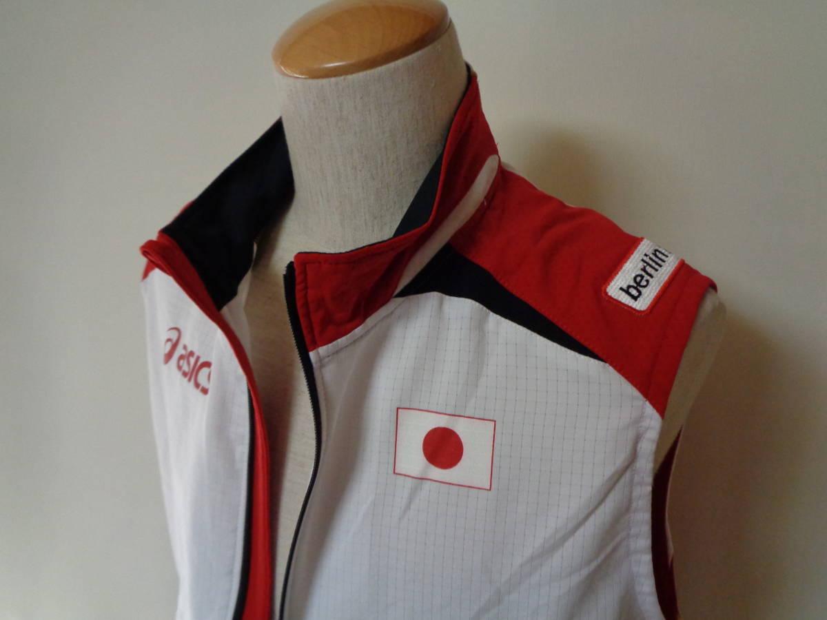 世界陸上競技選手権 アシックス ベスト ドイツ ベルリン asics sizeS 日本代表 トレーニング 選手支給 japan _画像3