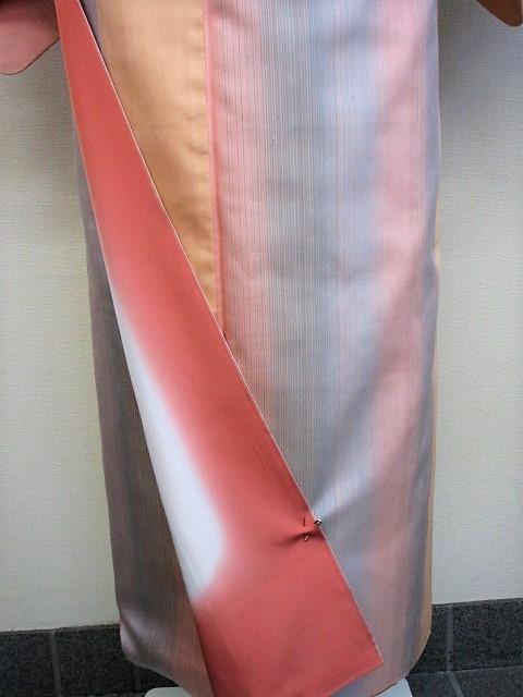★つばめ★ 紅花染~グラデーション・美しい着物~正絹紬・美品_画像5