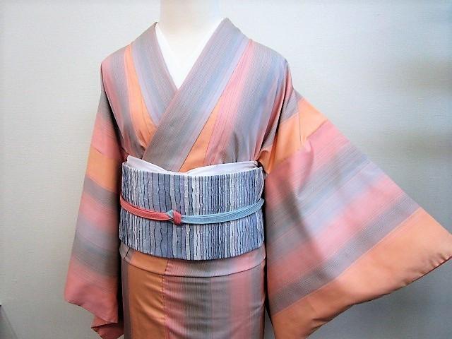 ★つばめ★ 紅花染~グラデーション・美しい着物~正絹紬・美品_画像3