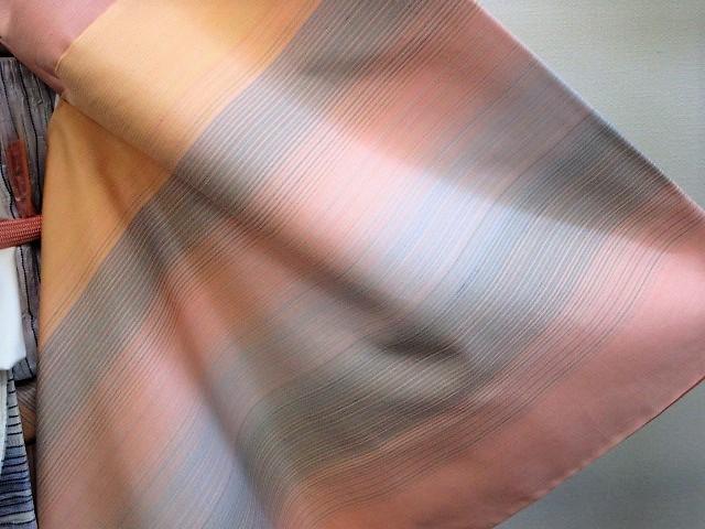 ★つばめ★ 紅花染~グラデーション・美しい着物~正絹紬・美品_画像7