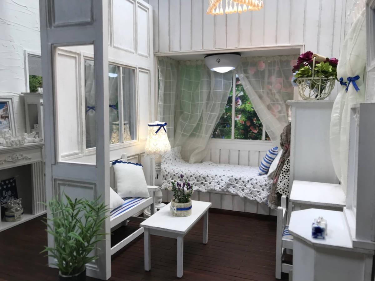★ドールハウス DIY 1/6サイズ シャビーシックな白いお部屋 組立式 ブライス momoko バービー リカちゃんに★#32_画像2