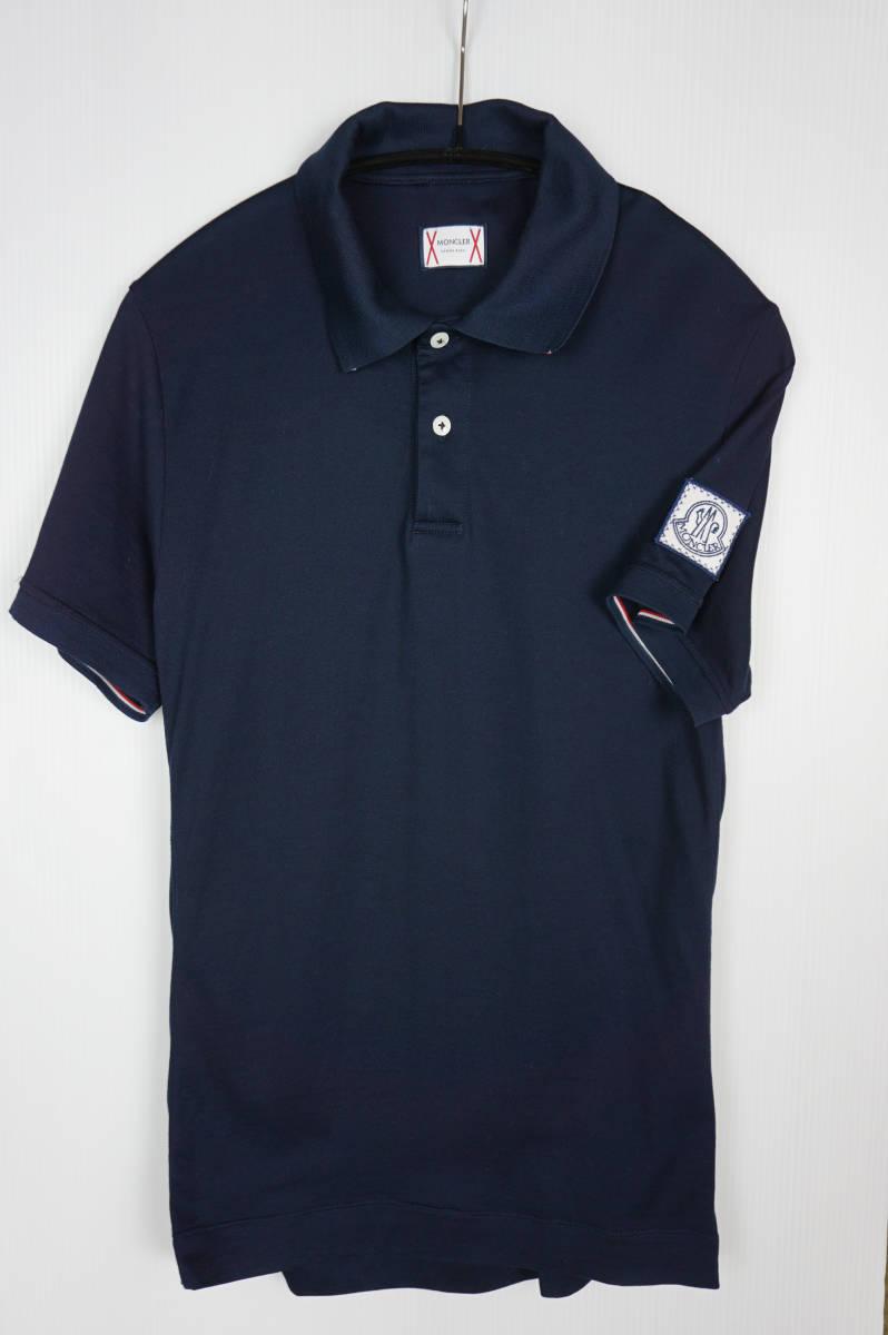 極美品 正規品 モンクレールガムブルー/ ポロシャツ ダークブルー サイズS 認証タグ付 送料込(管理番号JD66)